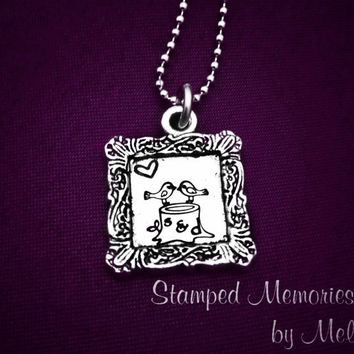 Portrait of Love - Hand Stamped Tibetan Silver Necklace - Initials and Bird Stamps - Cute Gift for Girlfriend or Wife