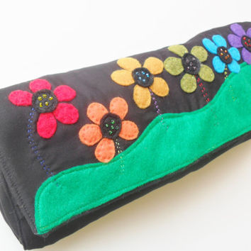 Black Diaper Clutch in Rainbow Flower Pattern with Beads