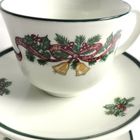 Christmas Teacups Johnson Bros. with Holly and Bells