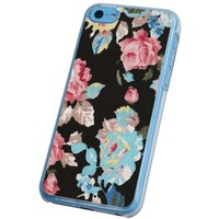 Iphone 5C Floral Black vintage shabby chic floral flower Design Case Back cover Metal and Hard Plastic Case