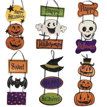 Halloween Wizard Hat Ghost Skull Pumpkin Paper Banner Bar Pendant  Halloween Hang Tag  Decoration Props Party Supplies A8A85