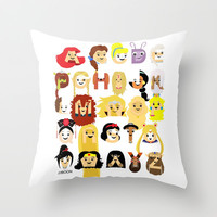 Princess Alphabet Throw Pillow by Mike Boon | Society6