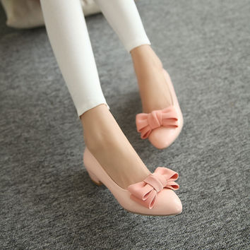 Pointed Toe Women Pumps Bowtie Low Heeled Shoes Woman