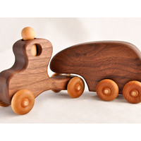 Wooden Toy Truck and Trailer in Walnut