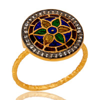 18K Yellow Gold Plated Sterling Silver CZ And Enamel Flower Design Cocktail Ring