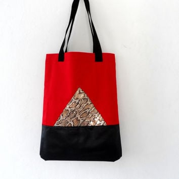 Tote Bag, Red Black Geometric with Metallic Snake Skin, Cotton and Leather Large Tote , CT7005