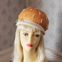 Vintage 1960s Mr. John Classic Straw Hat with Faux Coral and Pearl Beads