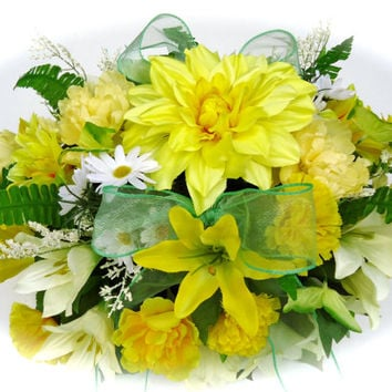 Headstone Floral Saddle Arrangement Yellow Lily - Cemetery Flowers, Memorial Saddle, Remembrance, Gravesite Flowers, Funeral Arrangement