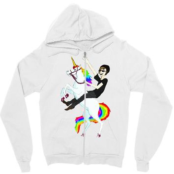 unicorn and human best friends Zipper Hoodie