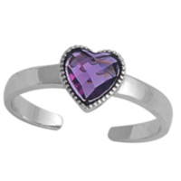 .925 Sterling Silver Amethyst Heart Adjustable Ring for Ladies and Kids Purple Midi or Toe