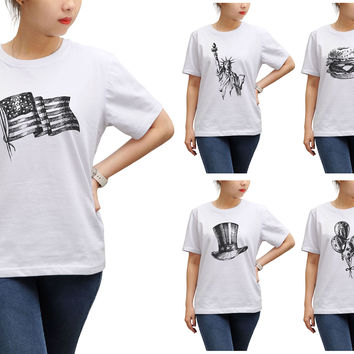 Women Independence Day Printed Round Neck Short Sleeve T- Shirt WTS_17