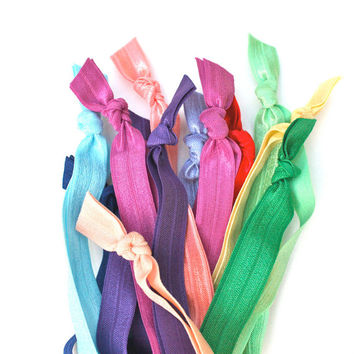 10 Elastic HEADBANDS Grab Bag - Like Emi Jay Headbands - Stretchy FOE Head Bands - Hair Tie Headbands for Girls & Women - Holiday Gift Idea