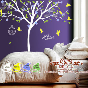 Baby boy wall decal Nursery wall decal name decal Tree birds wall mural Kids Children wall decals- tree birdcage birds Z111 by Cuma