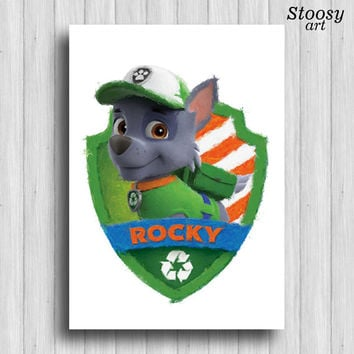 paw patrol Rocky poster cartoon dog art