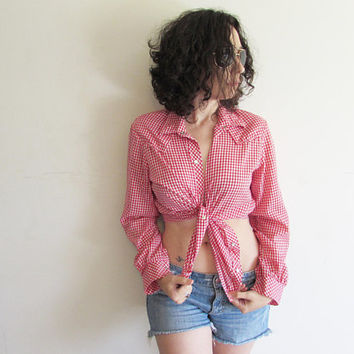 Vintage Oversize Red and White Gingham Pearl Snap Button Up Lightweight Country Western Shirt