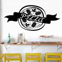Wall Decal Vinyl Sticker Decals Art Decor Design Pizza interior Pizzeria Resaurant Italy Kitchen Food inscription signboard Fun M1522
