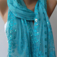 Blue -Turkish Shawl -Scarf.