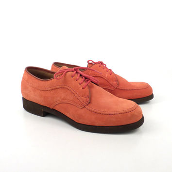 Oxford Shoes Leather Vintage 1980s Red Women's Hush Puppies size 8  M