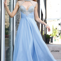 Jovani 98546 High Collar Sheer Jeweled Back A-line Chiffon Prom Dress SALE