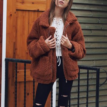 Brown Lapel Long Sleeve Faux Fur Coat Shearling Jacket