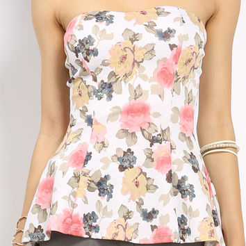 Floral Tube Peplum Top
