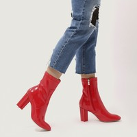 Hydro Statement Heel Sock Fit Ankle Boots in Red Patent