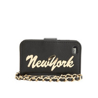 NEW YORK CHARM FAUX LEATHER SMARTPHONE WRISTLET