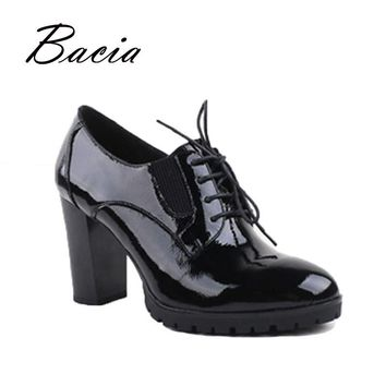 Bacia - genuine leather, patent leather high heels women pumps, 9cm sexy high-heels for woman, 36-40, Handmade Black Shoes VC021