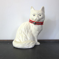 White CAT Statue vintage Retro Mid Century Ceramic Pottery mid century Kitty Figurine