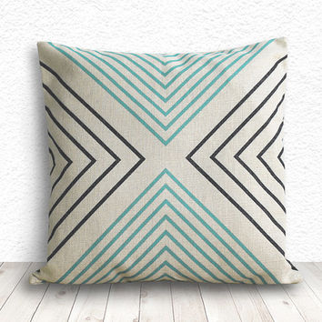 Pillow Cover, Geometric Pillow, Triangle Pillow Cover, Linen Pillow Cover 18x18 - Printed Geometric - 136