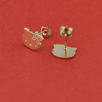 Hello Kitty 14K Rose Gold plated stud earrings *Free Shipping*