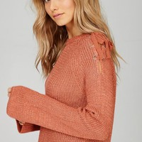 cold shoulder lace up sweater