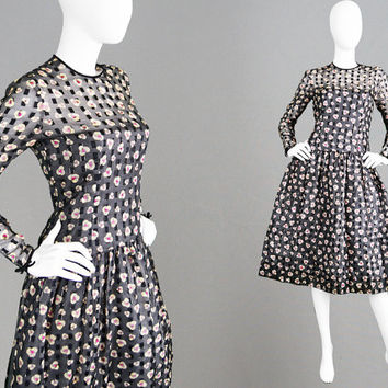 Vintage 80s HARDY AMIES COUTURE Dress Sheer Black Dress Silk Chiffon Dress Full Skirt Dress Drop Waist Dress 1980s Cocktail Dress Designer