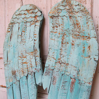 Large wood and metal angel wings wall hanging robins egg blue aqua mix rusted and distressed home decor Anita Spero
