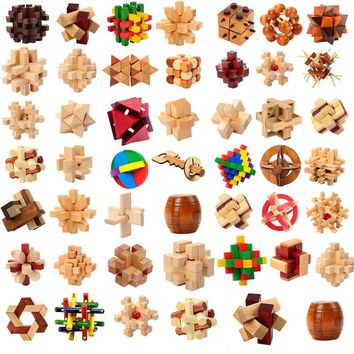 Design IQ Brain Teaser Wooden Interlocking 3D Wood Puzzles Game Toy Intellectual Learning Educational For Adults Kids Jigsaw