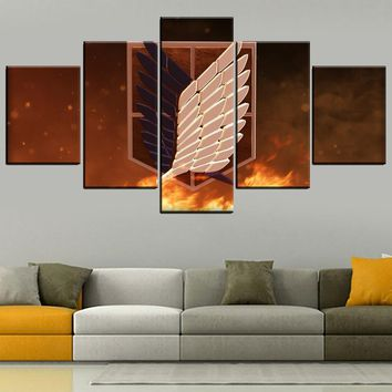 Cool Attack on Titan Canvas HD Prints Pictures Wall Art Home Decor 5 Pieces Anime  Wings Of dom Paintings Decor Artwork Framework AT_90_11