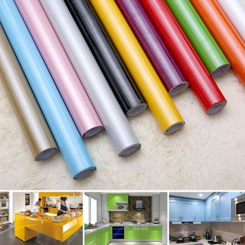 Self adhensive Wallpaper Paint Flash PVC Wall Stickers Kitchen Cupboard Door Furniture DIY Stickers Vinyl Decorative 0.6mx2m