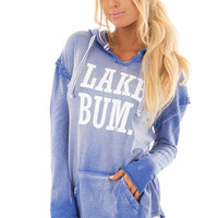 Washed Navy Hoodie with White 'LAKE BUM' Print