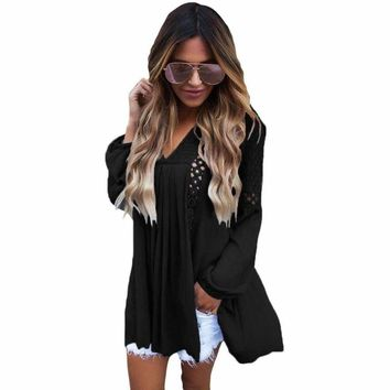 Black Crochet Lace Trim Relaxed Long Sleeve Tunic