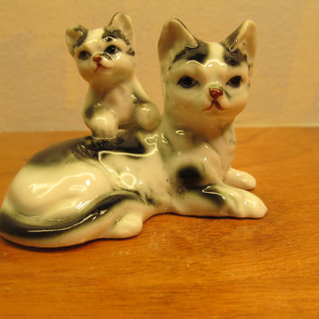 Small Porcelain Cat Figurine Black and White Mother and Baby