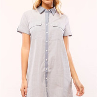Short Sleeve Mixed Stripes Button Down Shirt Dress - Blue/White