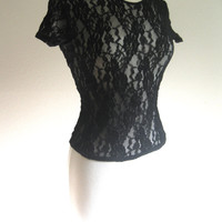 Vintage 90s Black Sheer Lace Shirt Size XS/S