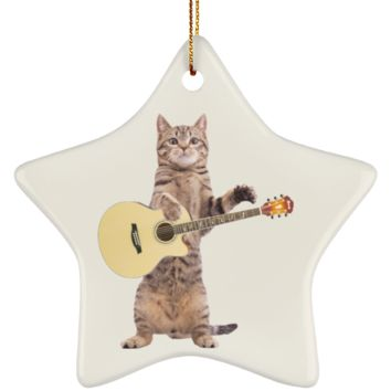 Funny Cat Christmas Tree Ornament Star Shaped 3.25 Inches (Black)
