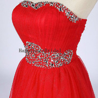 New A-line Strapless Sleeveless Above the knee Tulle Beading Bridesmaid Dresses Short Prom Dresses Formal Evening Dresses Party Dresses 2013