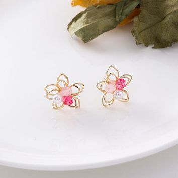 MENGJIQIAO 2018 New Double Layer Hollow Flower Small Stud Earings For Women Candy Color Crystal Beads Charm Pendientes Brincos