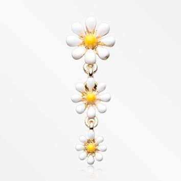 Golden Adorable Spring Daisy Flowers Reverse Belly Button Ring
