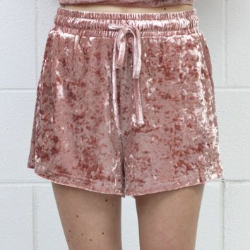 Relax in Comfort Crushed Velvet Shorties {Rose}
