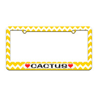 Cactus Love with Hearts - License Plate Tag Frame - Yellow Chevrons Design