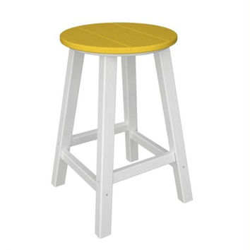 2 Bar Stools - Yellow Seat And White Legs