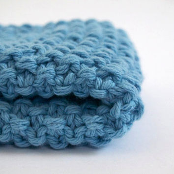 hand knit plushy cotton washcloth in light sky blue
